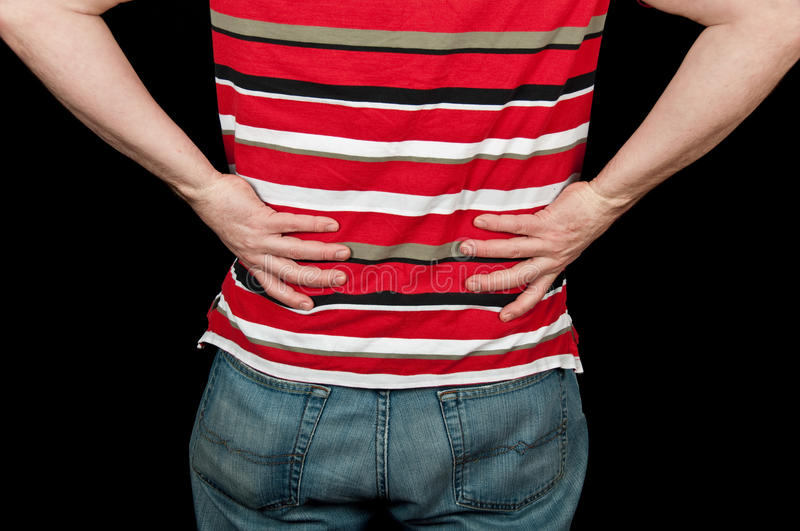 Download Male With Lower Back Pain On Black Stock Image - Image: 13685879
