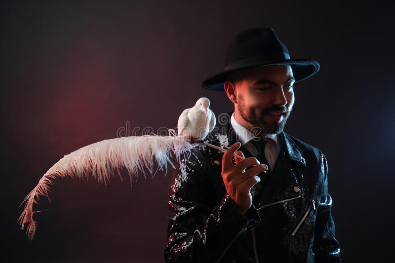 Male magician with white pigeon on dark background royalty free stock photo