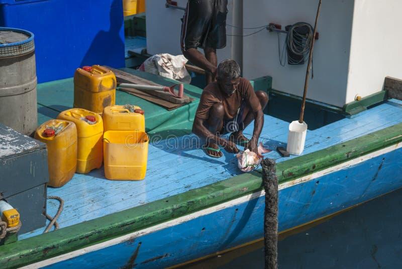 MALE/MALDIVES - 2007年3月30日-渔夫在Ma港口  图库摄影