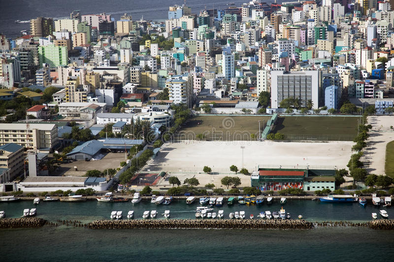 Male Maldives. Aerial shot of the island city of Male, capital of the Maldives royalty free stock photos