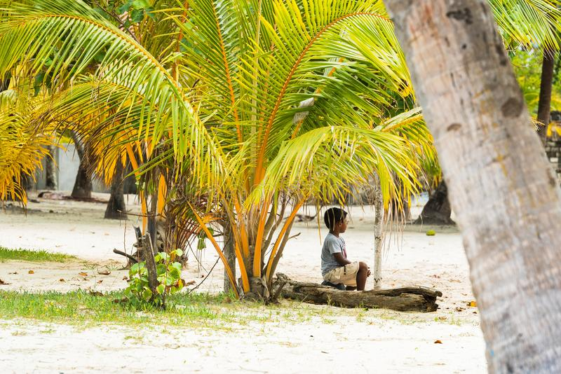 MALE, MALDIVES - NOVEMBER, 27, 2016: Little boy under the palm tree. Copy space for text. royalty free stock photo