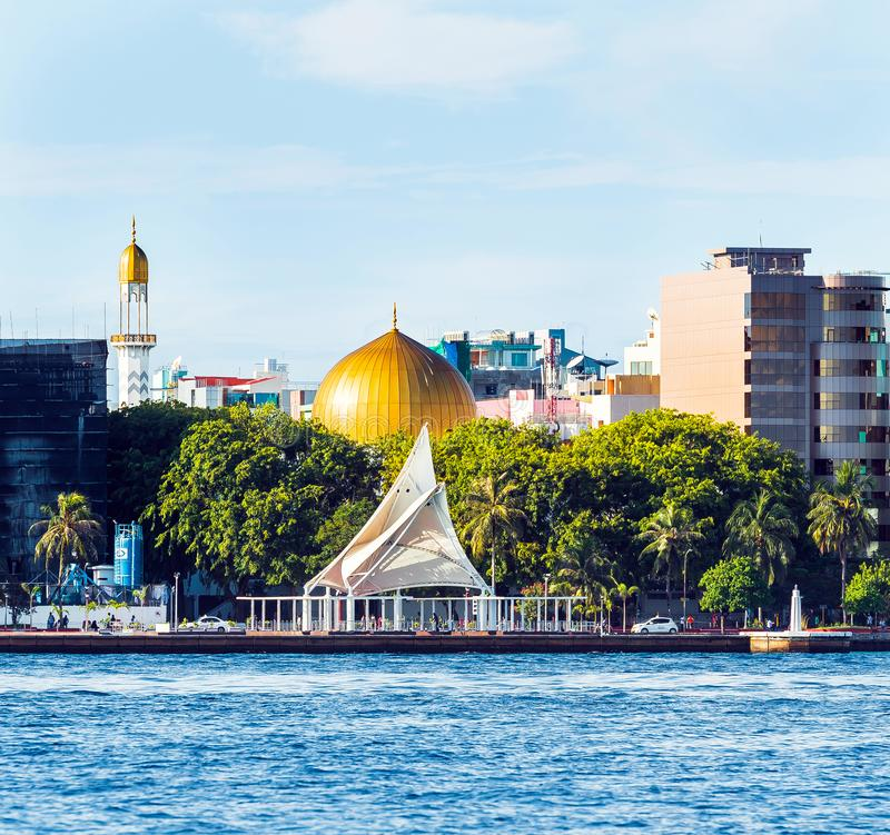 MALE, MALDIVES - NOVEMBER 18, 2016. MALE, MALDIVES - NOVEMBER 18, 2016: View of the city of Male `the capital of the Maldives`. Copy space for text stock photos