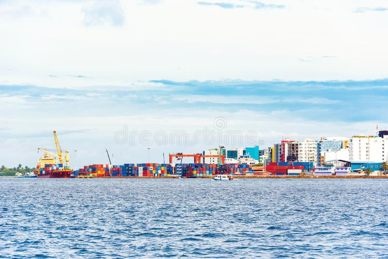 MALE, MALDIVES - NOVEMBER, 27, 2016: View of the city of Male. MALE, MALDIVES - NOVEMBER, 27, 2016: View of the city of Male - `the capital of the Maldives` royalty free stock photos