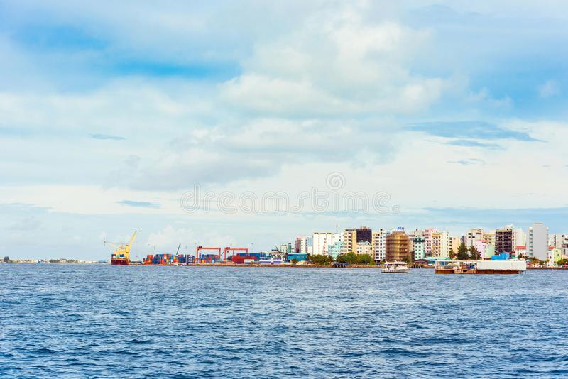 MALE, MALDIVES - NOVEMBER, 27, 2016: View of the city of Male. MALE, MALDIVES - NOVEMBER, 27, 2016: View of the city of Male - `the capital of the Maldives` stock image