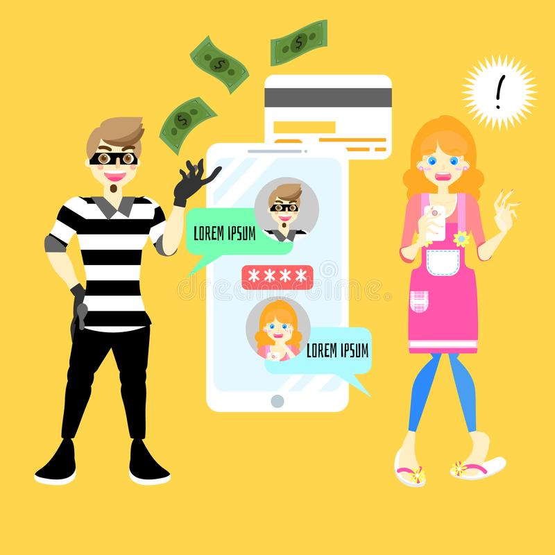 Male,man cyber hacker scammer online stealing money concept with shocked female,woman holding mobile smart phone vector illustration
