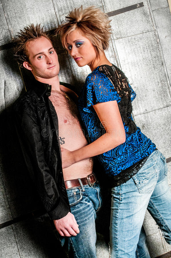 Male / Man and Female / Woman Fashion Model couple. Lovers being romantic royalty free stock photo