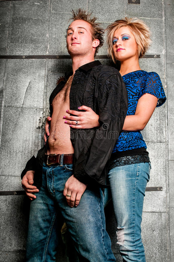 Male / Man and Female / Woman Fashion Model couple. Lovers being romantic royalty free stock photography