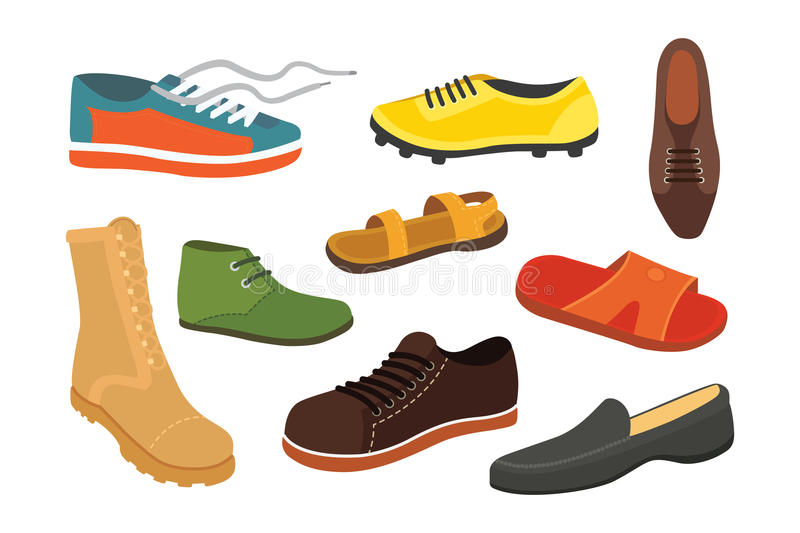 Male man season shoes in flat style. Men boots isolated set vector illustration stock illustration