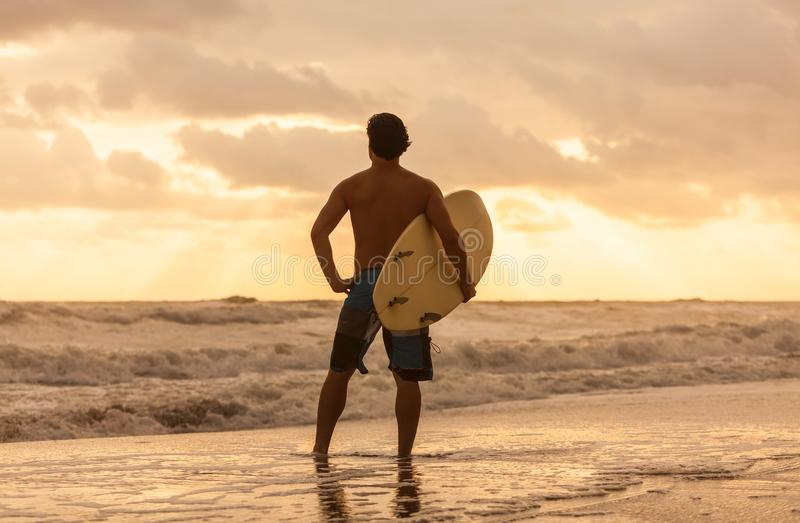 Male Man Surfer & Surfboard Sunset Sunrise Beach. Rear view of young man male surfer with white surfboard looking at surf on a beach at sunset or sunrise stock images