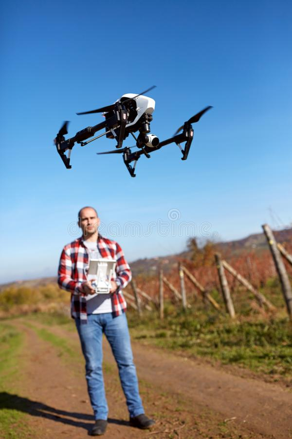 Male manage drone from ground royalty free stock images