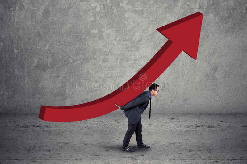 Male manager bring a growth chart royalty free stock images