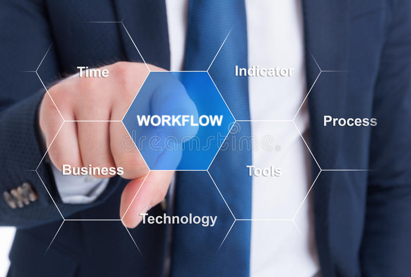 Male manager pressing selecting workflow button royalty free stock photos