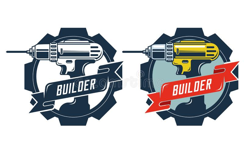 Drill emblem with signature builder. royalty free illustration