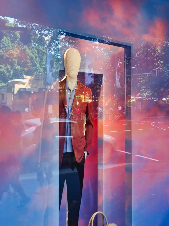 Male Mannequin in Colourful Shop Window, Sydney, Australia stock photo