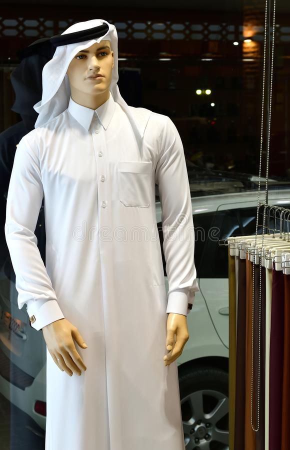 Male mannequin in traditional Arabic clothing, United Arab Emirates. Male mannequin in a traditional Arabic clothing, United Arab Emirates royalty free stock image