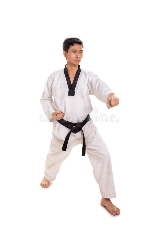 Male martial artist left punch strike, full length shot. Male martial artist throwing a left hand strike, full length shot isolated on white background royalty free stock photography