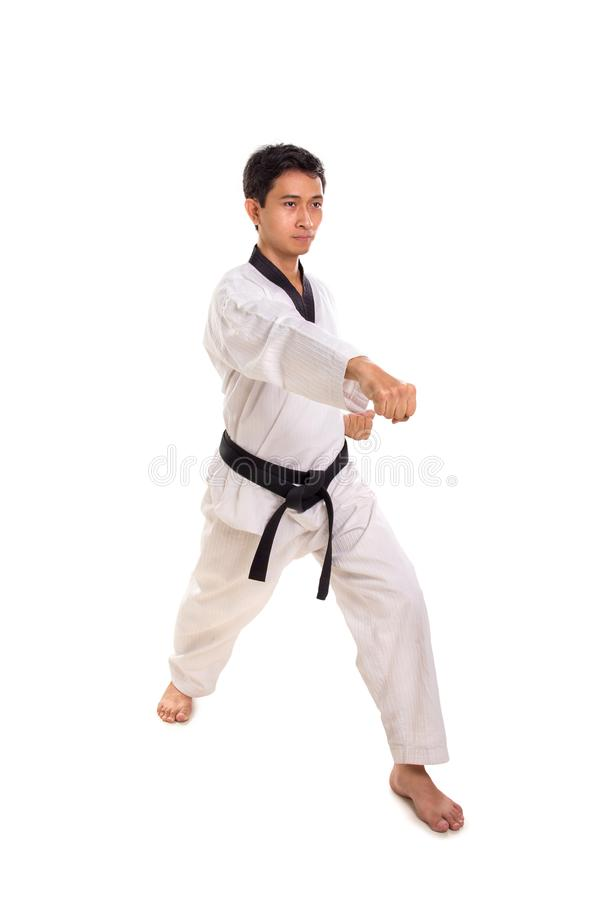 Male martial artist right straight punch, full length shot. Male martial artist throwing a right straight punch, full length shot isolated on white background royalty free stock photography