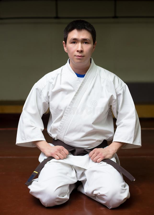 Male martial arts coach in a gym royalty free stock photography
