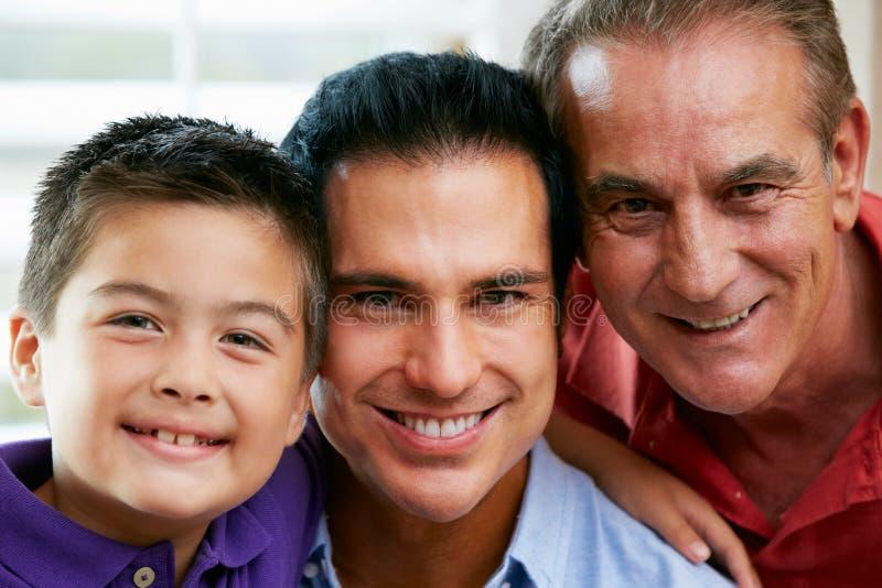Male medlemmar av den mång- utvecklingsfamiljen hemma arkivfoto