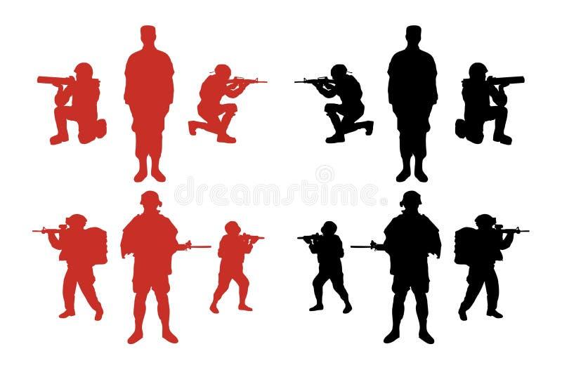 male militära silhouettes stock illustrationer