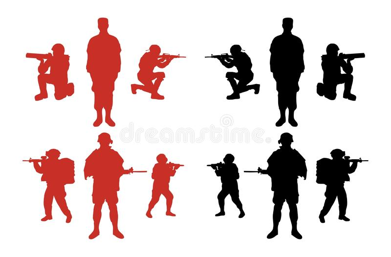Download Male Military Silhouettes stock vector. Illustration of military - 20765293