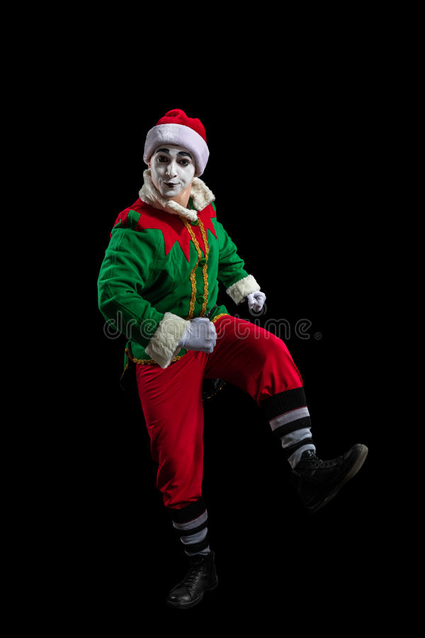 Male mimein New Year costume isolated stock photos