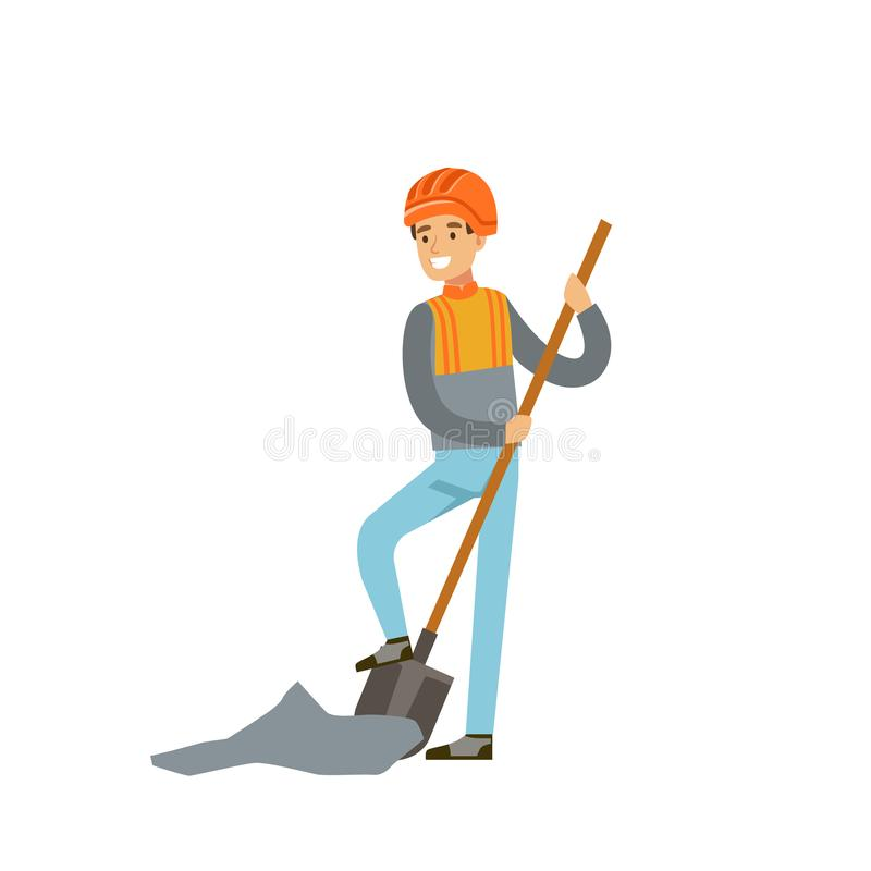 Male miner in uniform digging with shovel, professional miner at work, coal mining industry vector Illustration. Isolated on a white background vector illustration