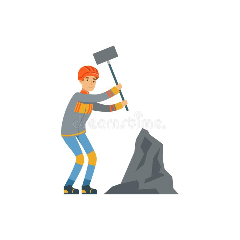 Male miner in uniform working at the coal mine with hammer, professional miner at work, coal mining industry vector royalty free illustration