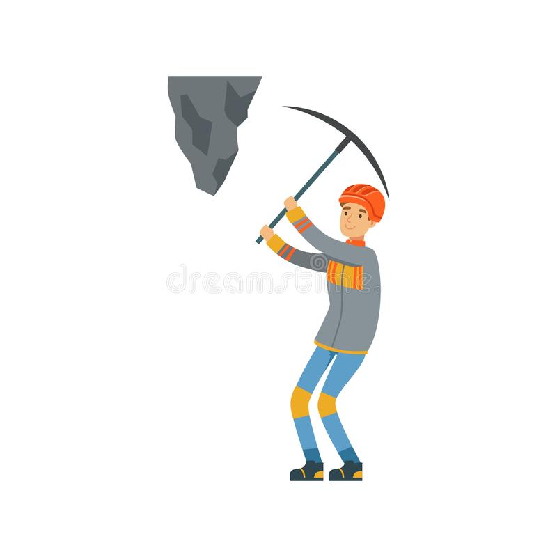 Male miner in uniform working at the coal mine with pickaxe, professional miner at work, coal mining industry vector vector illustration