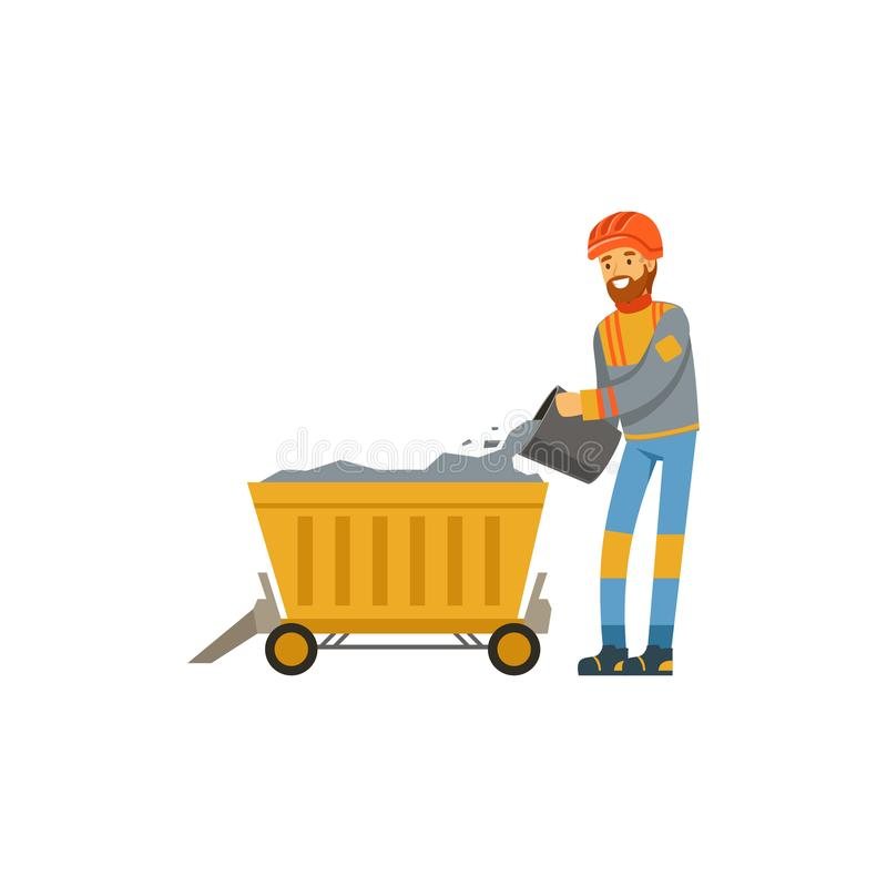 Male miner in uniform working in mine with trolley, professional miner at work, coal mining industry vector Illustration royalty free illustration