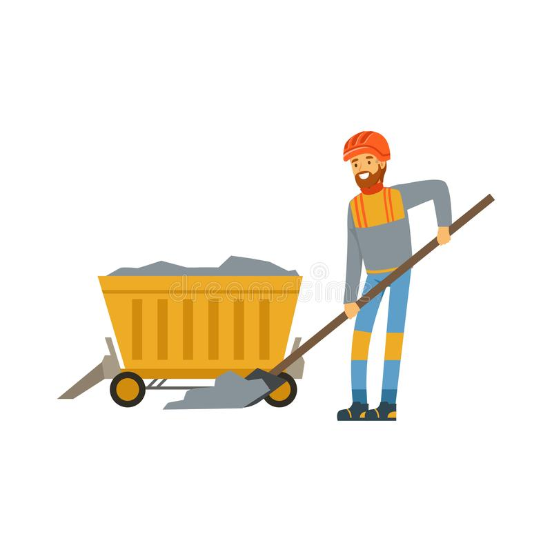 Male miner in uniform working in mine with wheelbarrow, professional miner at work, coal mining industry vector vector illustration