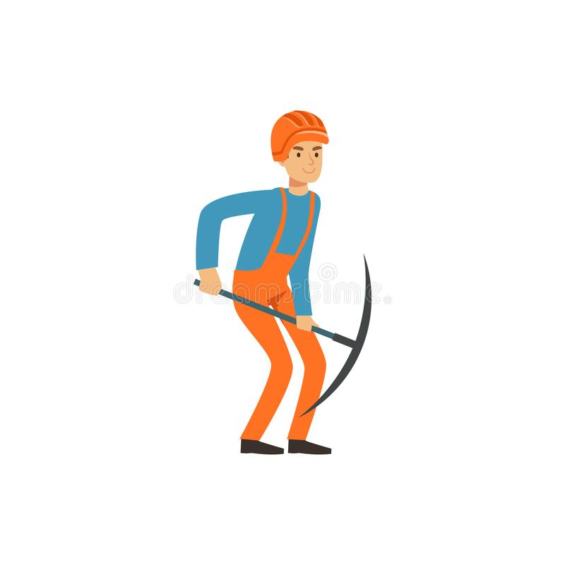 Male miner in uniform working with pickaxe, professional miner at work, coal mining industry vector Illustration stock illustration