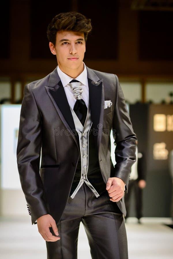 Male Model On Catwalk Wearing Bridegroom Suit Editorial Image ...