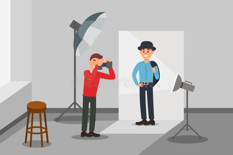 Male model in fashion clothes posing at photo session, photographer making photos, photo studio interior with. Professional equipment vector Illustration, web royalty free illustration