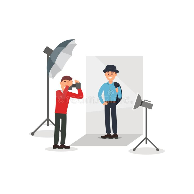 Male model in fashion clothes posing at photo session, photographer making photos in photo studio vector Illustration. Flat style stock illustration