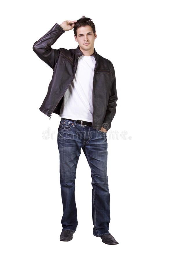 Male model with jacket and sunglasses stock images