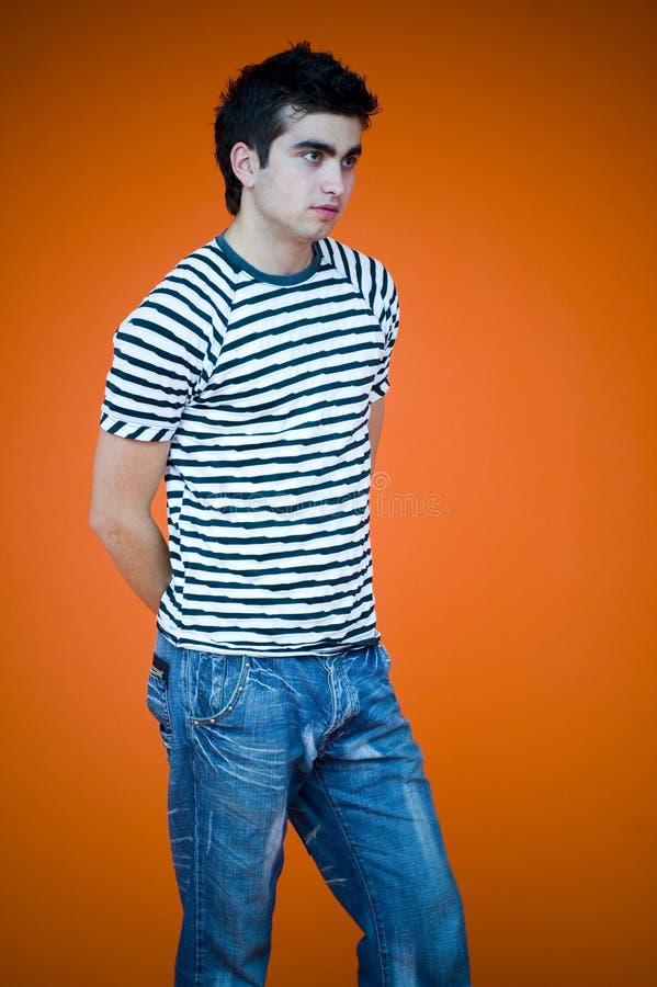 Male Model on Orange royalty free stock images