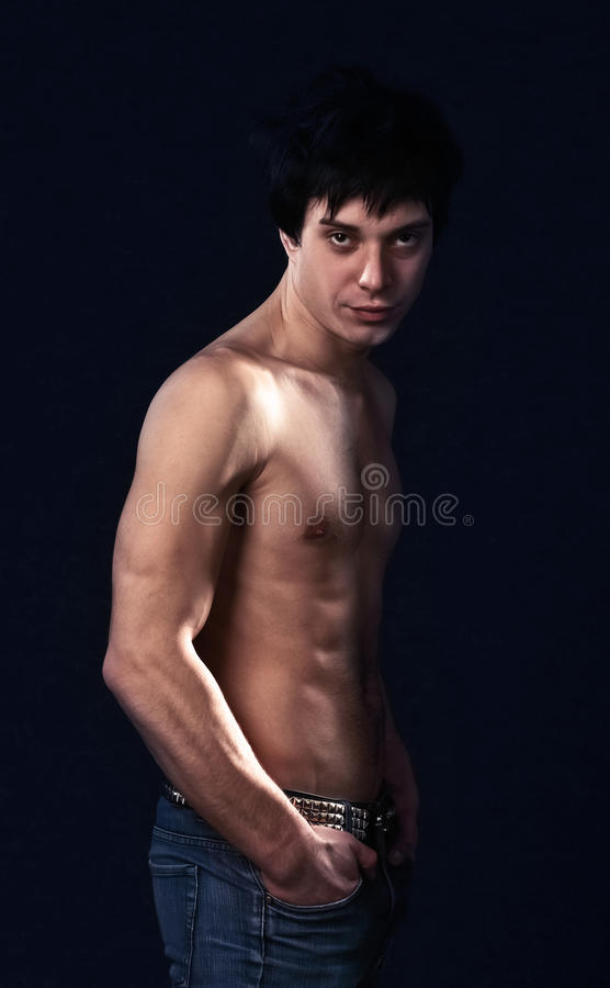Male model posing in studio royalty free stock photography