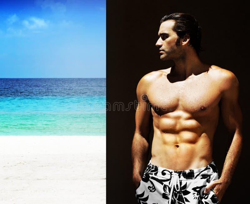 male model shirtless arkivfoto