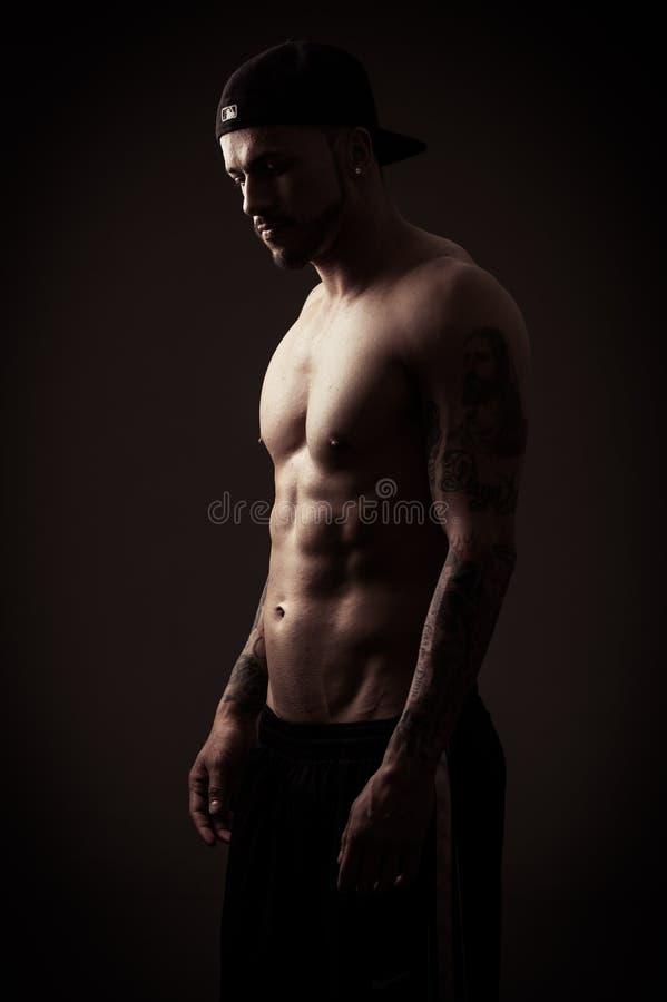 male model shirtless royaltyfri fotografi