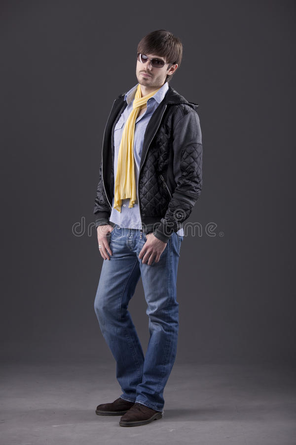 Male model in trendy clothes royalty free stock image