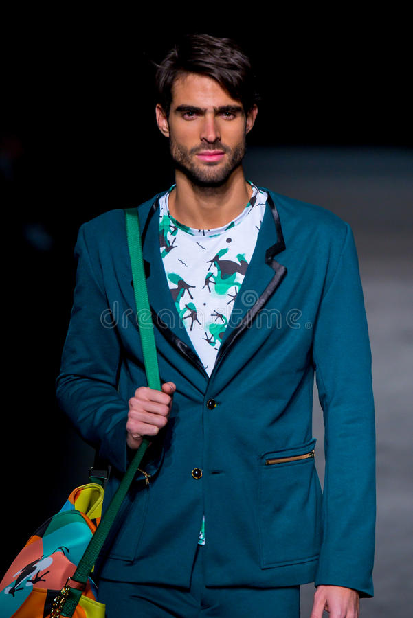 A male model walks the runway for the Page collection at the 080 Barcelona Fashion stock photography