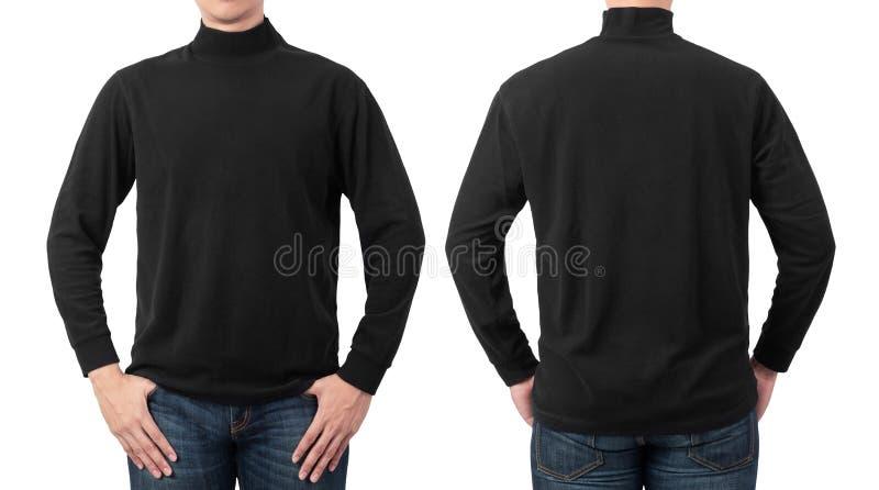 Male Model Wear Plain Black Long Sleeve T Shirt Mockup Template