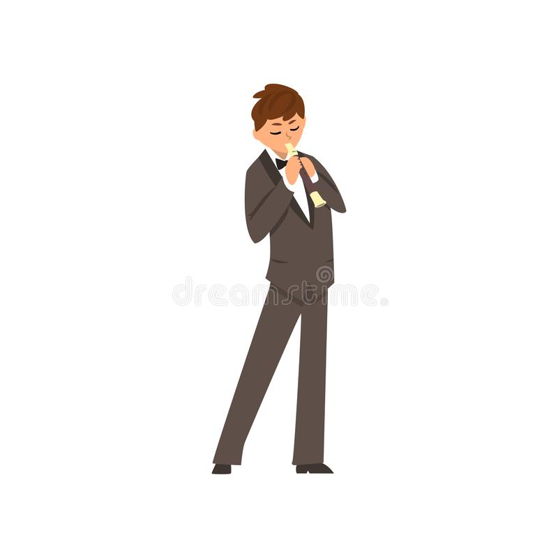 Male musician playing flute, flutist man wearing black elegant suit playing classical music vector Illustration on a. Male musician playing flute, flutist man royalty free illustration