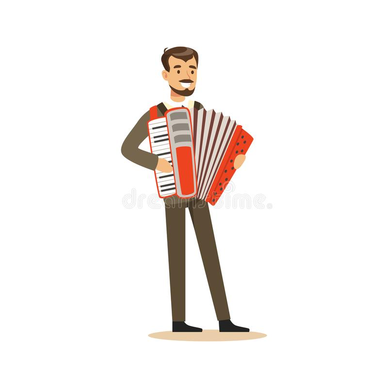 Male musician wearing a classic suit playing accordion vector Illustration. On a white background vector illustration
