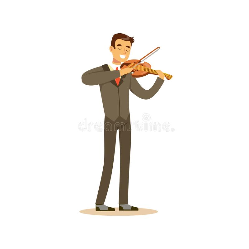 Male musician wearing a classic suit playing violin, classical music performance vector illustration