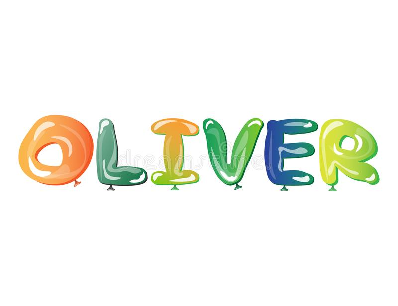 Male name Oliver text balloons royalty free illustration