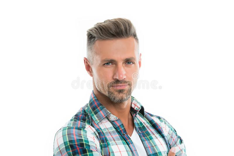 Male natural beauty. Deal with gray roots. Man attractive well groomed facial hair. Barber shop concept. Grizzle hair stock photos