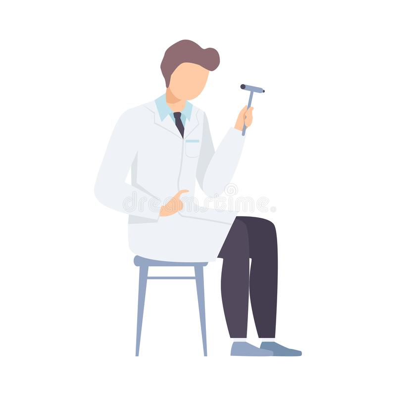 Male Neurologist Character with Hammer for Diagnostic Reflex Vector illustration stock illustration