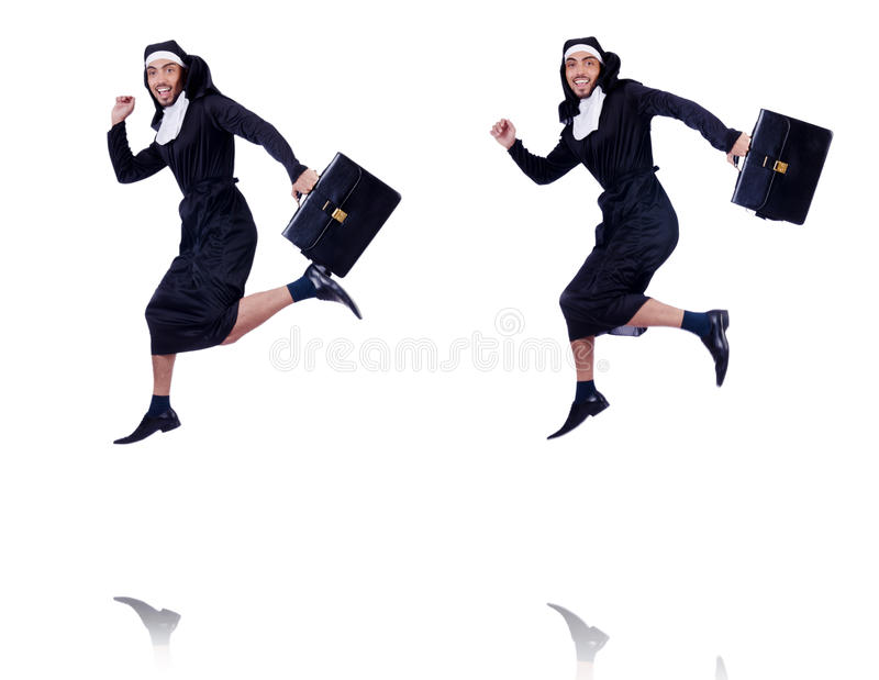 The male nun in funny religious concept stock photos